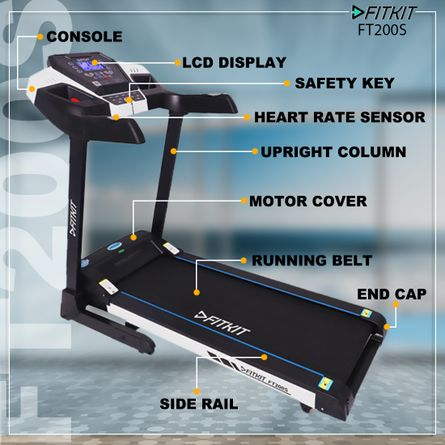 Fitkit - FT200S (4.5HP Peak Power) Treadmill with Auto Incline & Easy Lubrication