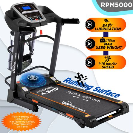 RPM Fitness - RPM Fitness RPM5000 4.5HP Peak Power, Multi-function Motorized Treadmill (Max Speed - 16Km/Hr, Max Weight - 110Kgs) with Free Home Installation & 1 Year OneFitPlus Membership