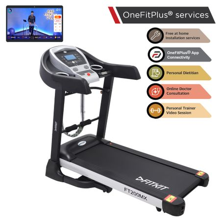 FITKIT - FT200MX (4.5HP Peak Power) Treadmill with Auto Incline & Easy Lubrication with Massager