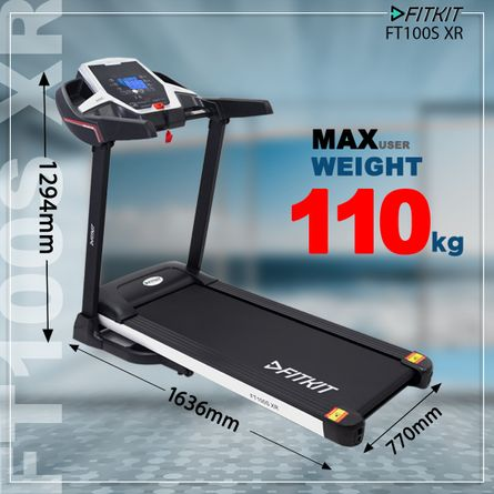 FITKIT - FT100S XR (3.25HP Peak Power) Treadmill with Manual Incline & Easy Lubrication