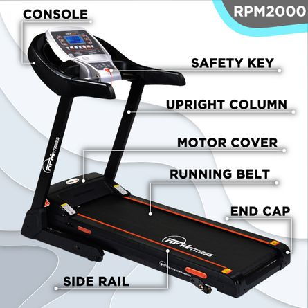 RPM Fitness - RPM Fitness RPM2000 3.5HP Peak Power Motorized Treadmill (Max Speed - 14Km/Hr, Max Weight - 110Kgs) with Free Home Installation & 1 Year OneFitPlus Membership