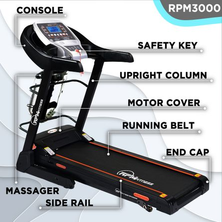RPM Fitness - RPM Fitness RPM3000 3.5HP Peak Power, Multi-function Motorized Treadmill (Max Speed - 14Km/Hr, Max Weight - 110Kgs) with Free Home Installation & 1 Year OneFitPlus Membership