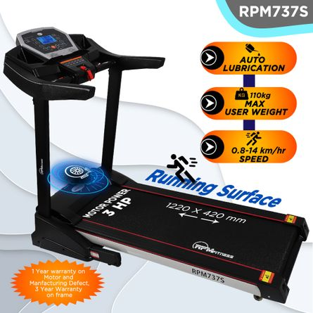 RPM Fitness - RPM737S (3HP Peak Power) Treadmill with Manual Incline & Auto Lubrication