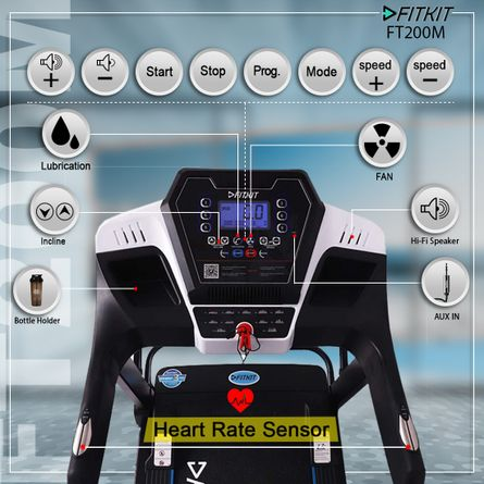 FITKIT - FT200M (4.5HP Peak Power) Treadmill with Auto Incline & Lubrication with Massager