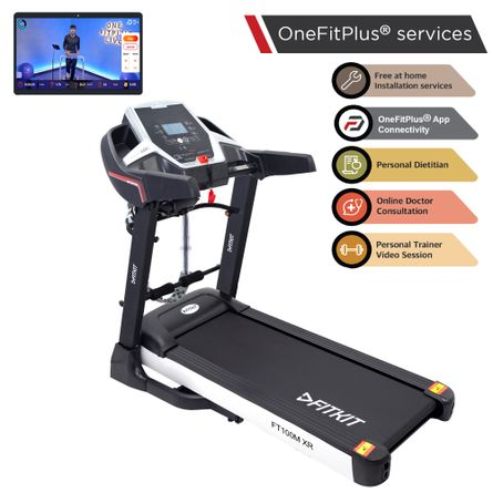 FITKIT - Fitkit FT100M XR 3.25 HP Peak Power, Multi-function Motorized Treadmill (Max Speed - 14Km/Hr, Max Weight - 110Kgs) with Free Home Installation & 1 Year OneFitPlus Membership