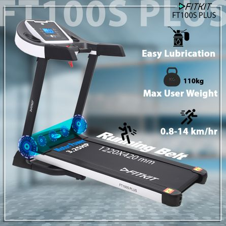 FITKIT - FT100S Plus (3.25HP Peak Power) Treadmill with Manual Incline & Easy Lubrication