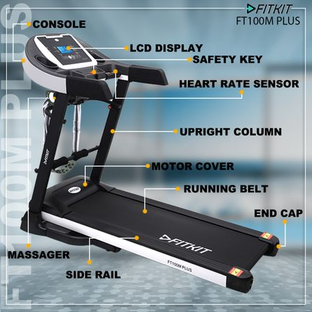 FITKIT - Fitkit FT100M Plus 3.25 HP Peak Power, Multi-function Motorized Treadmill (Max Speed - 14Km/Hr, Max Weight - 110Kgs) with Free Home Installation & 1 Year OneFitPlus Membership
