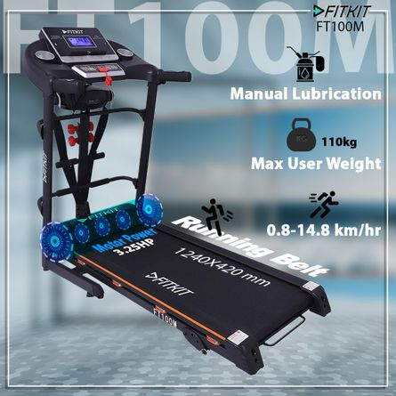 FITKIT - FT100M (3.25HP Peak Power) Treadmill with Manual Incline & Lubrication with Massager