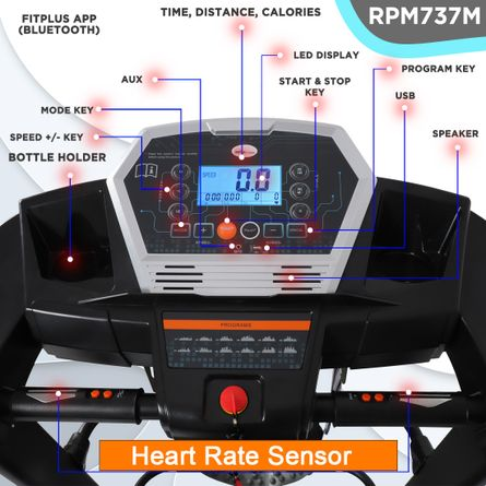 RPM Fitness - RPM Fitness RPM737M 3HP Peak Power, Multi-function Motorized Treadmill (Max Speed - 14Km/Hr, Max Weight - 110Kgs) with Free Home Installation & 1 Year OneFitPlus Membership