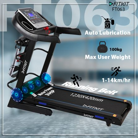 Fitkit - Fitkit FT063 3 HP Peak Power, Multi-function Motorized Treadmill (Max Speed - 14Km/Hr, Max Weight - 100Kgs) with Free Home Installation & 1 Year OneFitPlus Membership