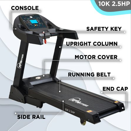 RPM Fitness - RPM Fitness 10K 2.5HP CCC Certified Motorized Treadmill (Max Speed - 14Km/Hr, Max Weight - 120Kgs) with Free Home Installation & 1 Year OneFitPlus Membership