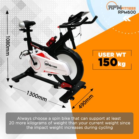 RPM Fitness - RPM Fitness RPM600 (30lbs Flywheel) with Free Diet Plan, Trainer & Installation Services Spinner Exercise Bike (Black)