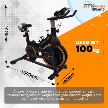 RPM Fitness - RPM Fitness RPM610 (14lbs Flywheel) with Free Diet Plan,Trainer & Installation Services Spinner Exercise Bike (Black)