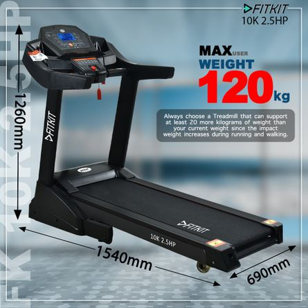 FITKIT - Fitkit 10K 2.5HP CCC Certified Motorised Treadmill (Max Speed - 14Km/Hr, Max Weight - 120Kgs) with Free Home Installation & 1 Year OneFitPlus Membership, Black